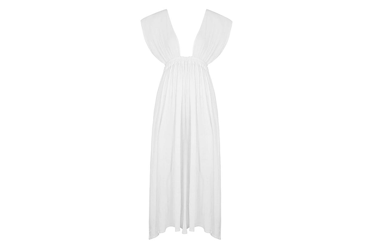 Roma white cotton maxi dress