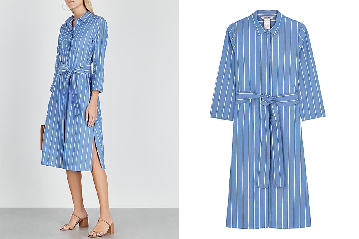 'S MAX MARA Caladio striped cotton shirt dress