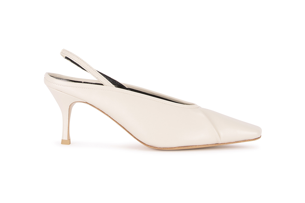 SALONDEJU  Volure 70 off-white slingback leather pumps