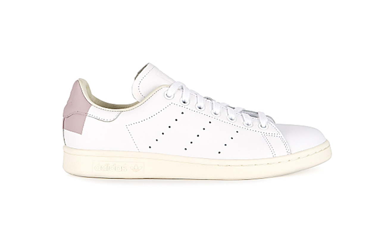 Stan Smith white and dusky pink leather sneakers