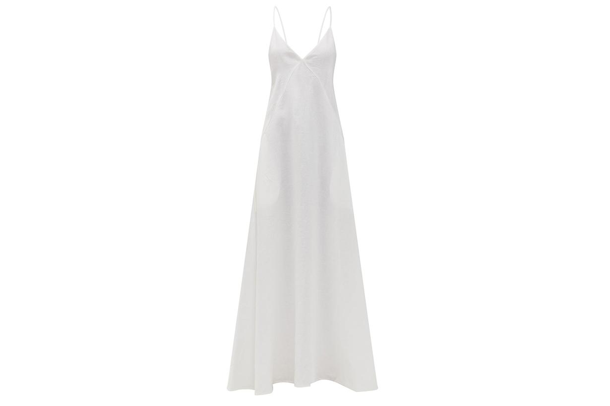 Tie-back organic-linen maxi dress