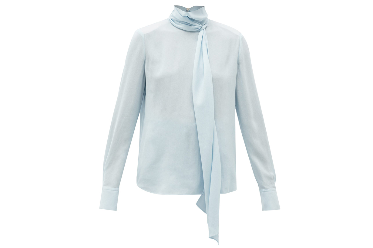 Tie-neck crepe blouse