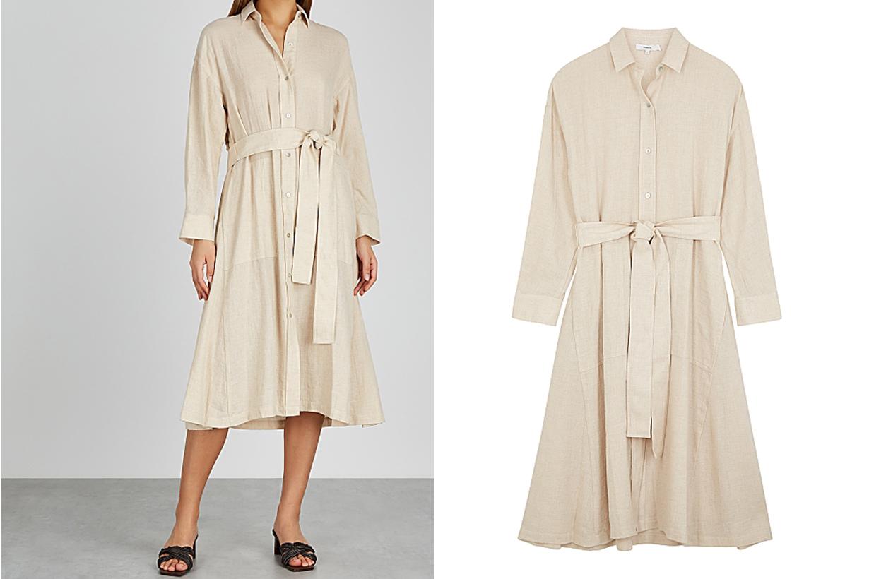 VINCE Cream brushed cotton-blend shirt dress