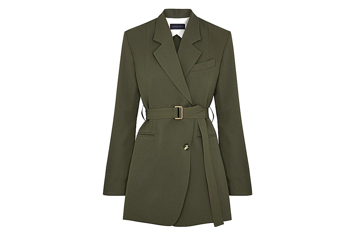 Violette army green belted blazer