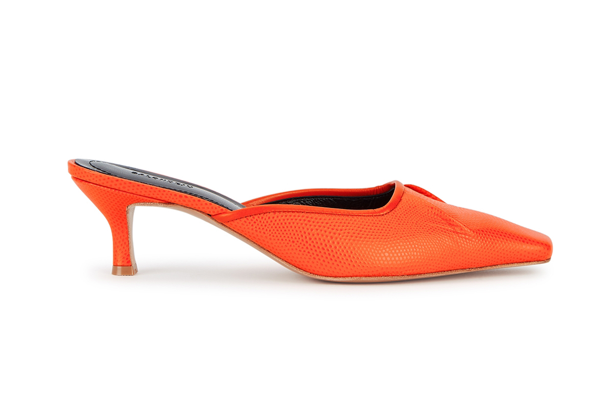 Volure 50 orange lizard-effect mules