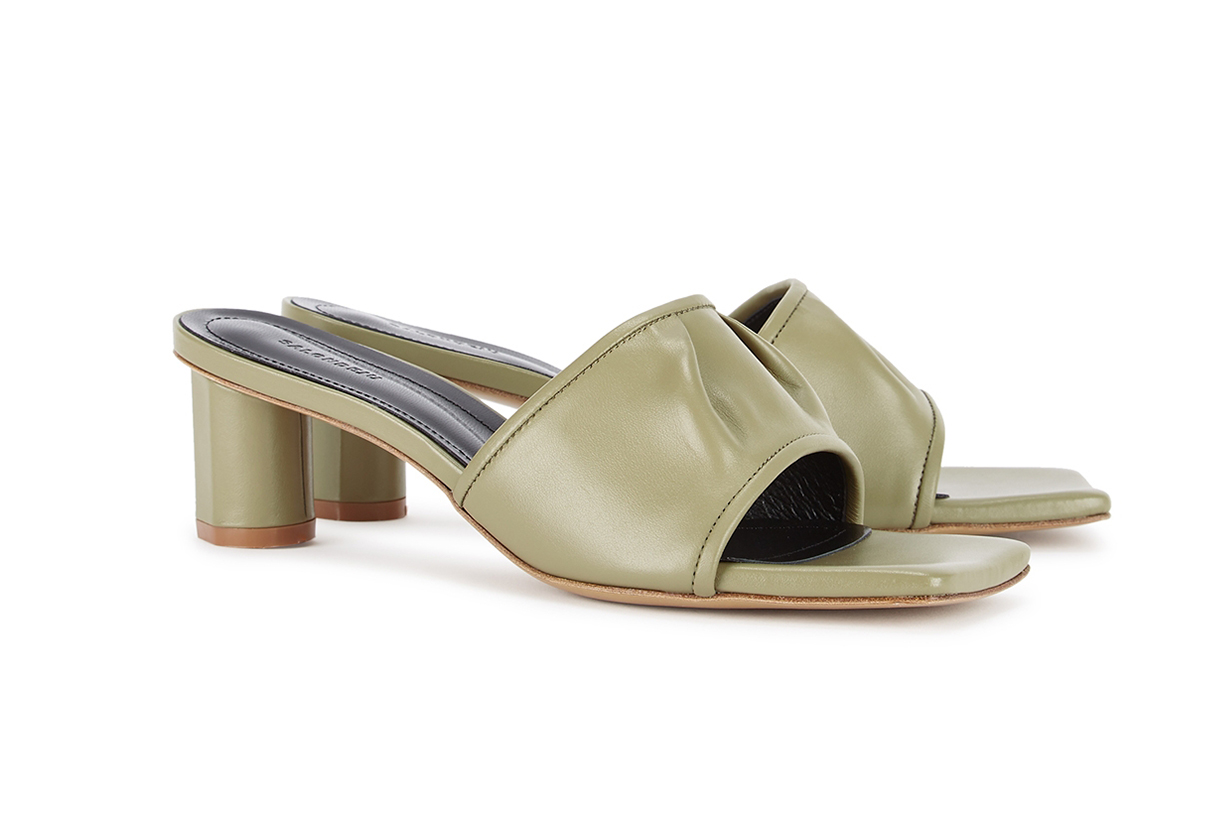 Volure 50 sage green leather mules