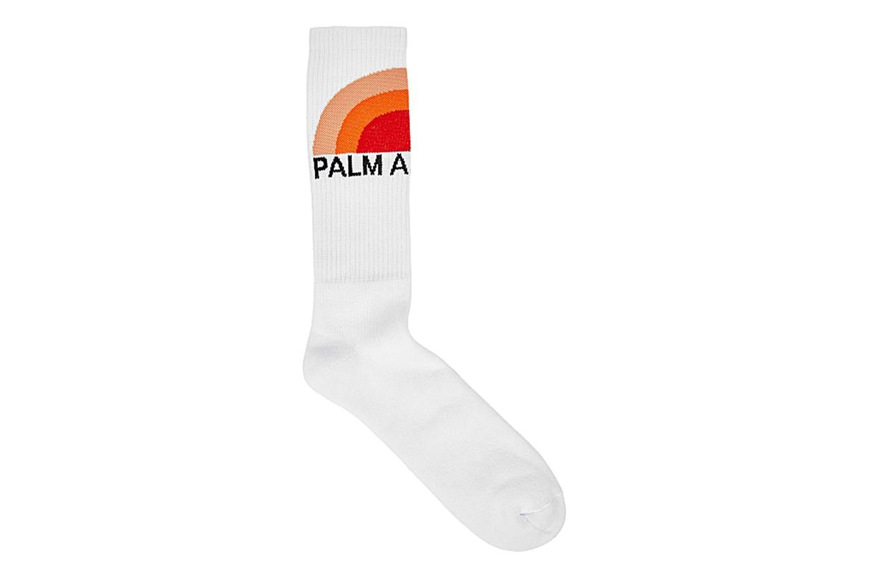 White sunset-intarsia cotton-blend socks