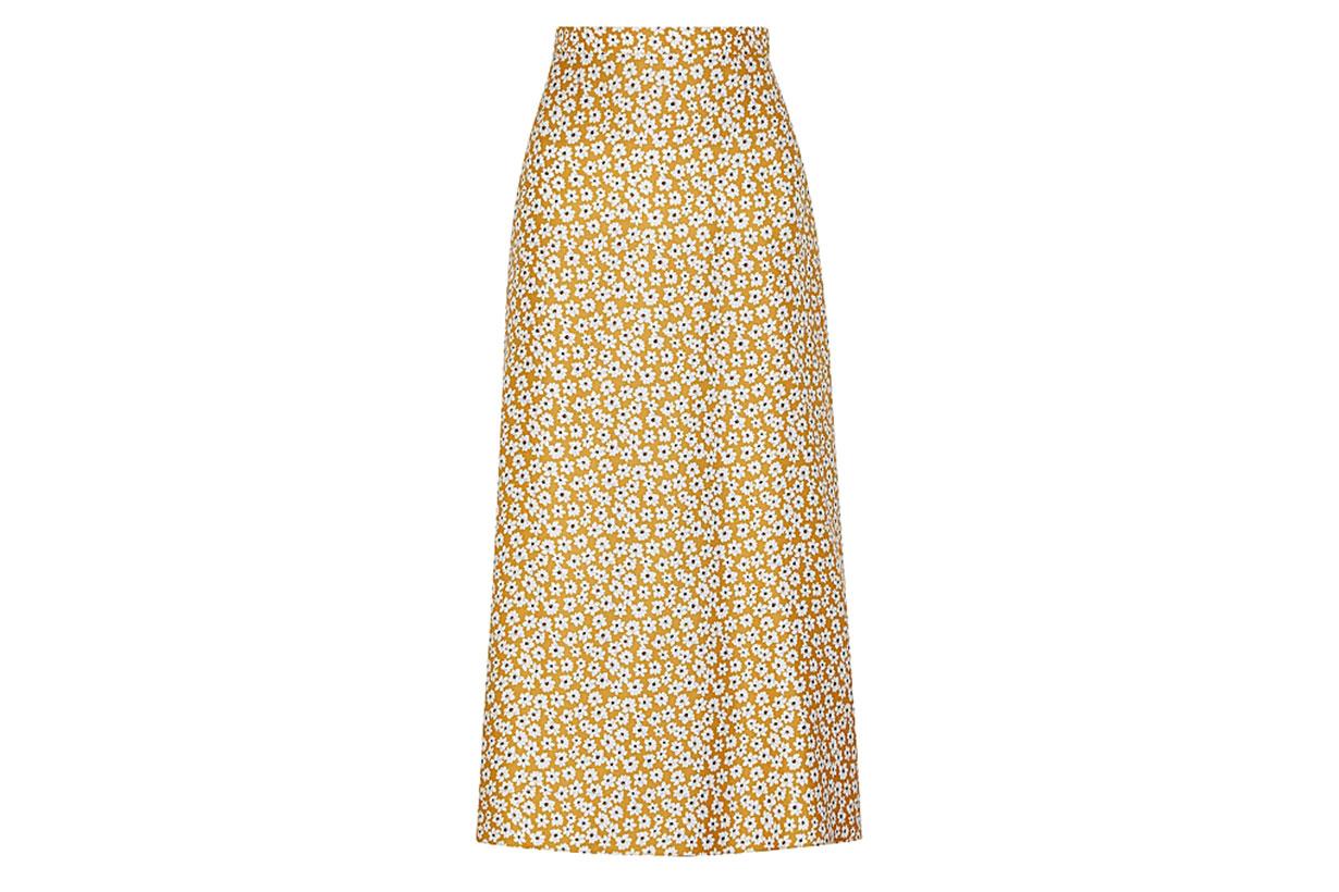 Zoe floral-print silk midi skirt