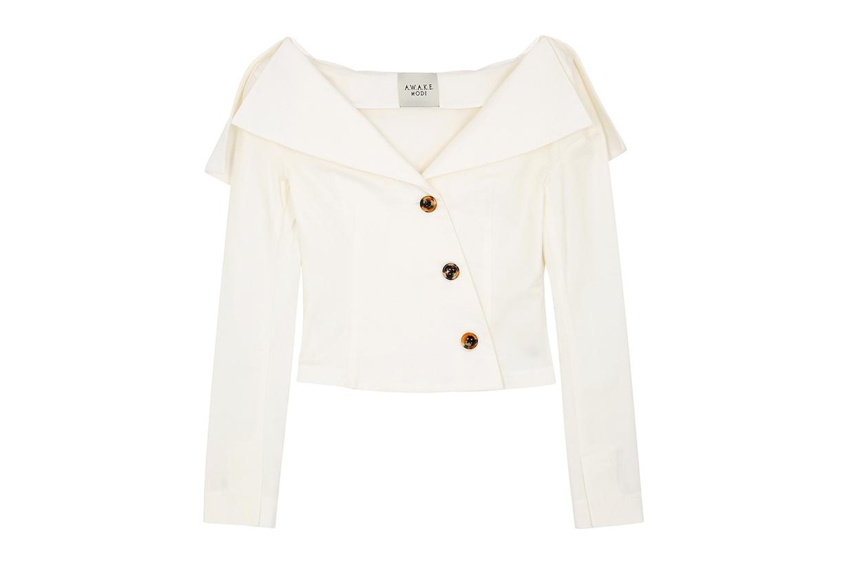 A.W.A.K.E MODE Ivory white off-the-shoulder cotton top