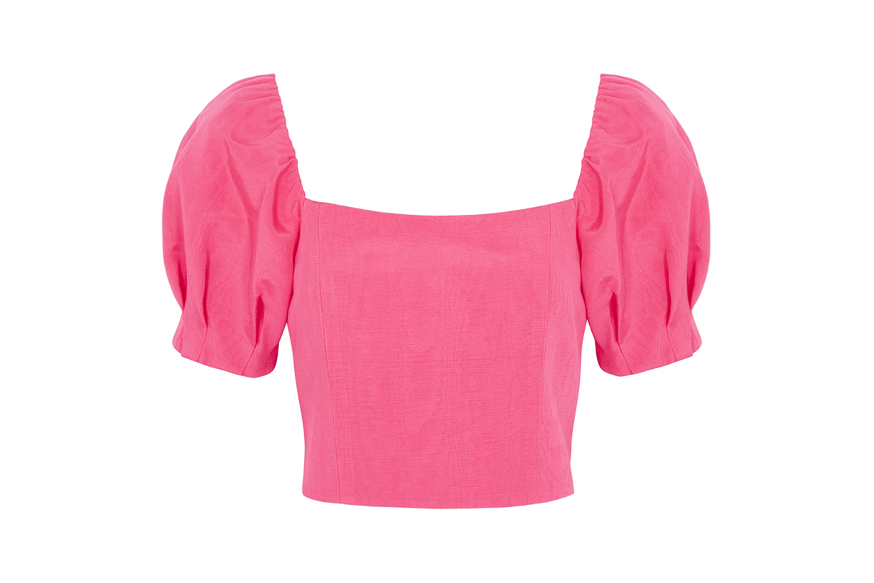 ALICE + OLIVIA Joslyn pink puff-sleeve satin-twill top