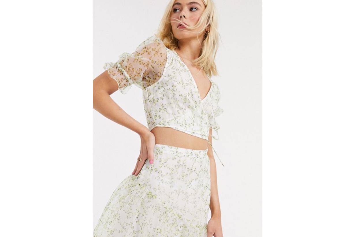 ASOS DESIGN short sleeve organza wrap top in floral print co-ord