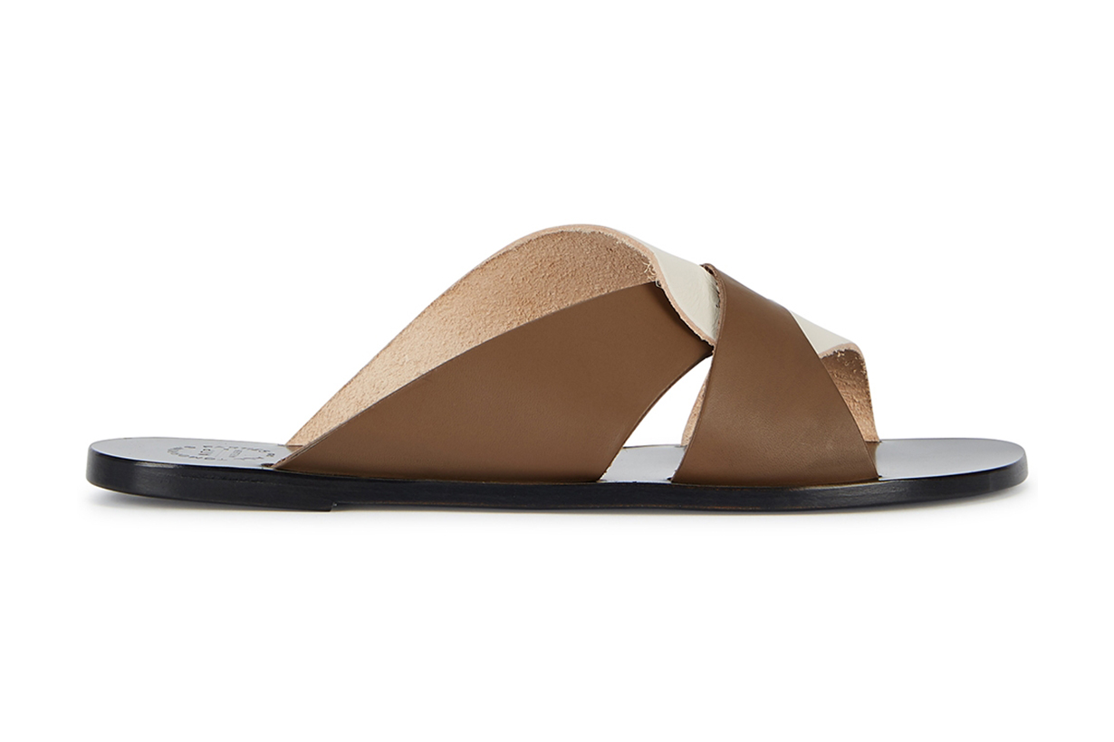 ATP ATELIER Allai two-tone leather sliders