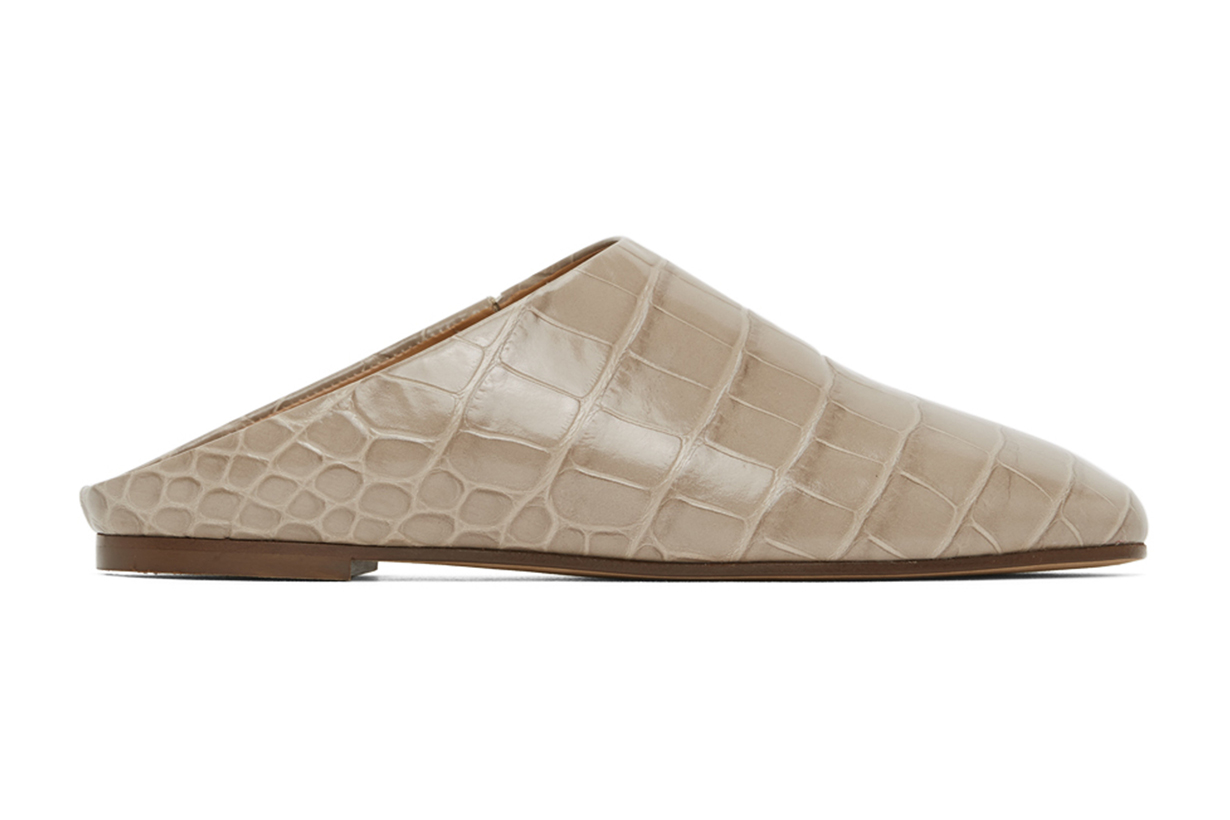 Taupe Croc-Embossed Glider Slippers