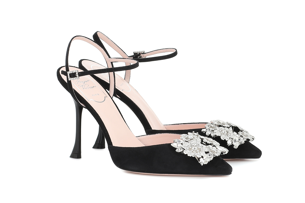 Bouquet Strass Buckle suede pumps