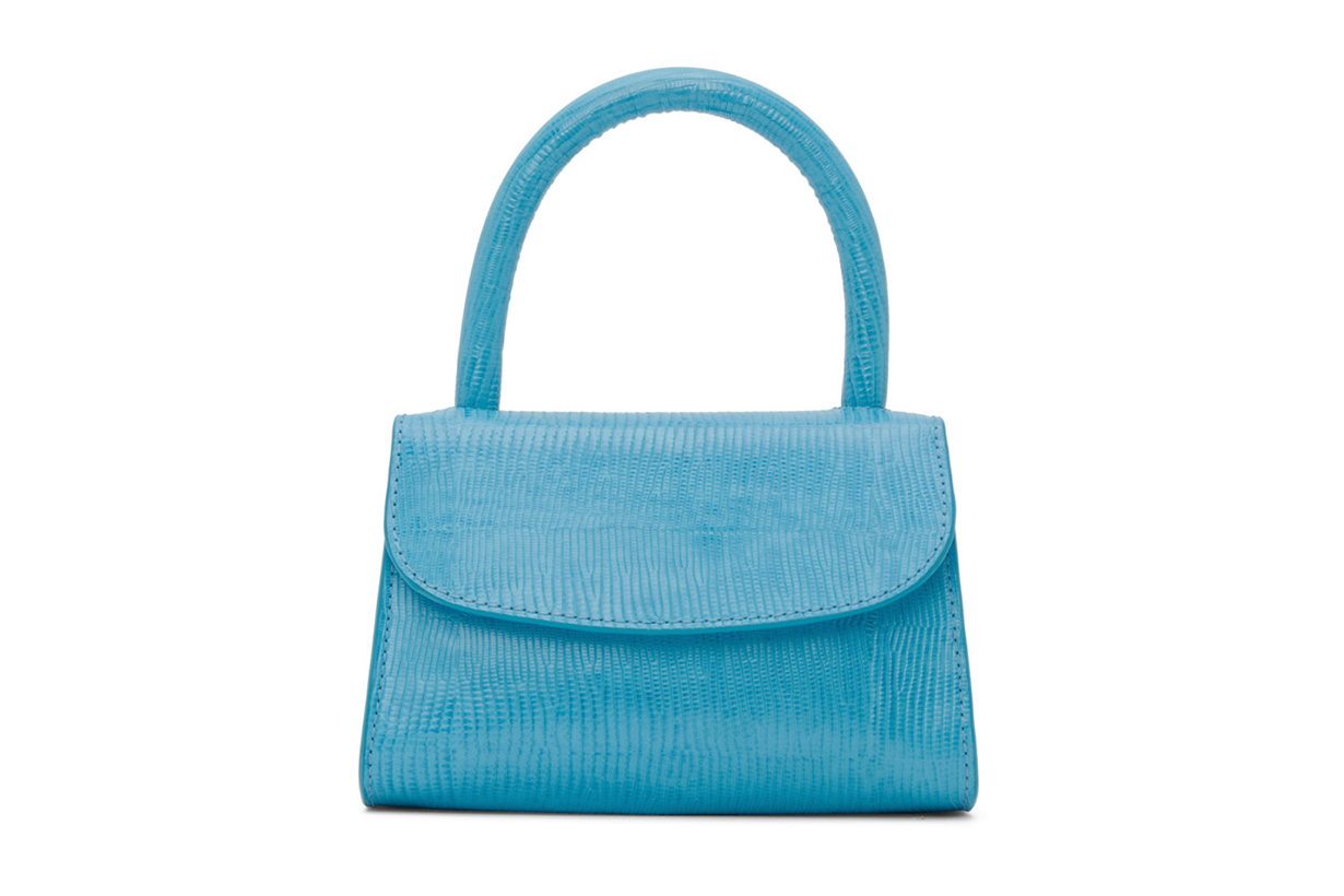 BY FAR Blue Lizard Mini Top Handle Bag