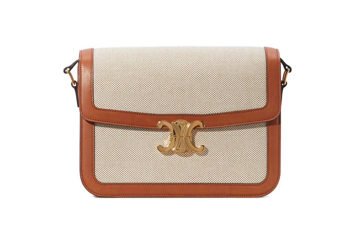 CELINE Large Triomphe bag in textile and natural calfskin