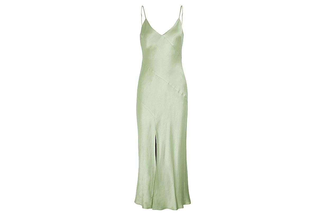 Crest light green satin midi dress