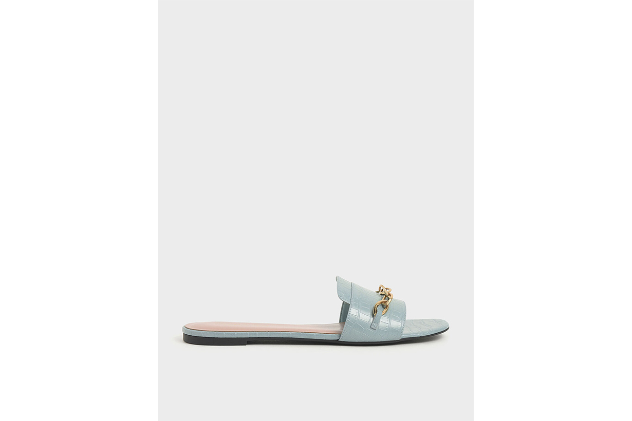 Croc-Effect Chain Link Slide Sandals