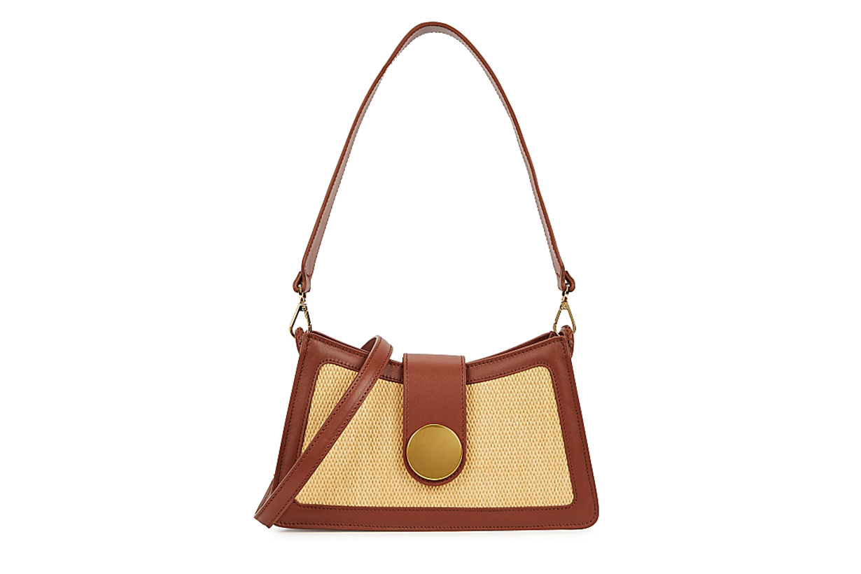 ELLEME Baguette brown leather cross-body bag