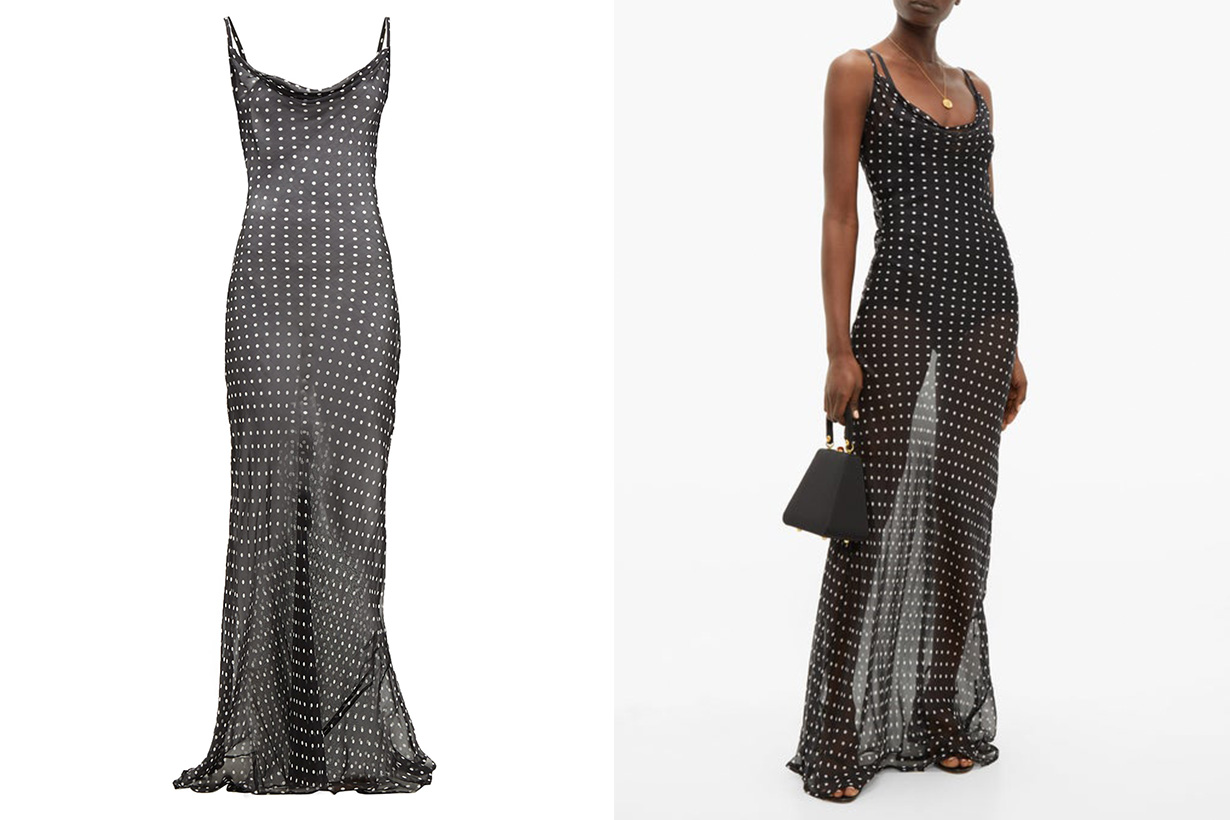 Rat&Boa Gisele polka dot silk chiffon maxi dress