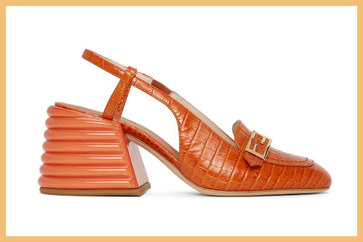 Fendi Orange Croc Slingback Heels