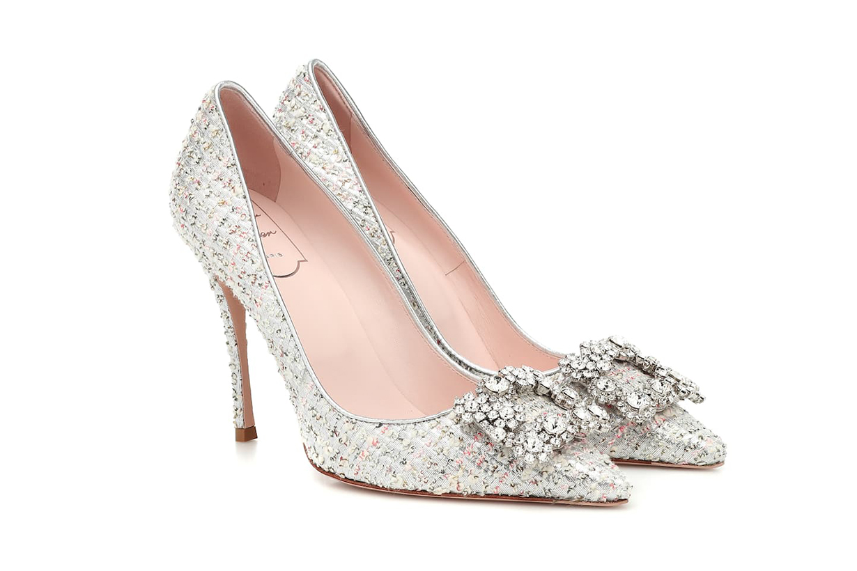 Flower Strass tweed pumps