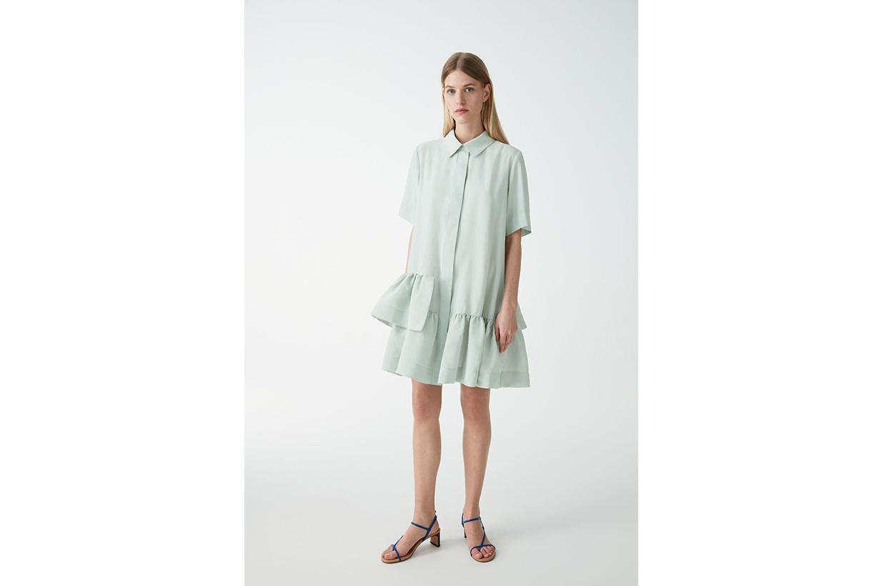 FRILLED SHORT-SLEEVED SHIRT DRESS