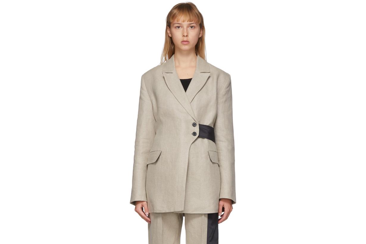 GANNI Off-White Linen Blazer