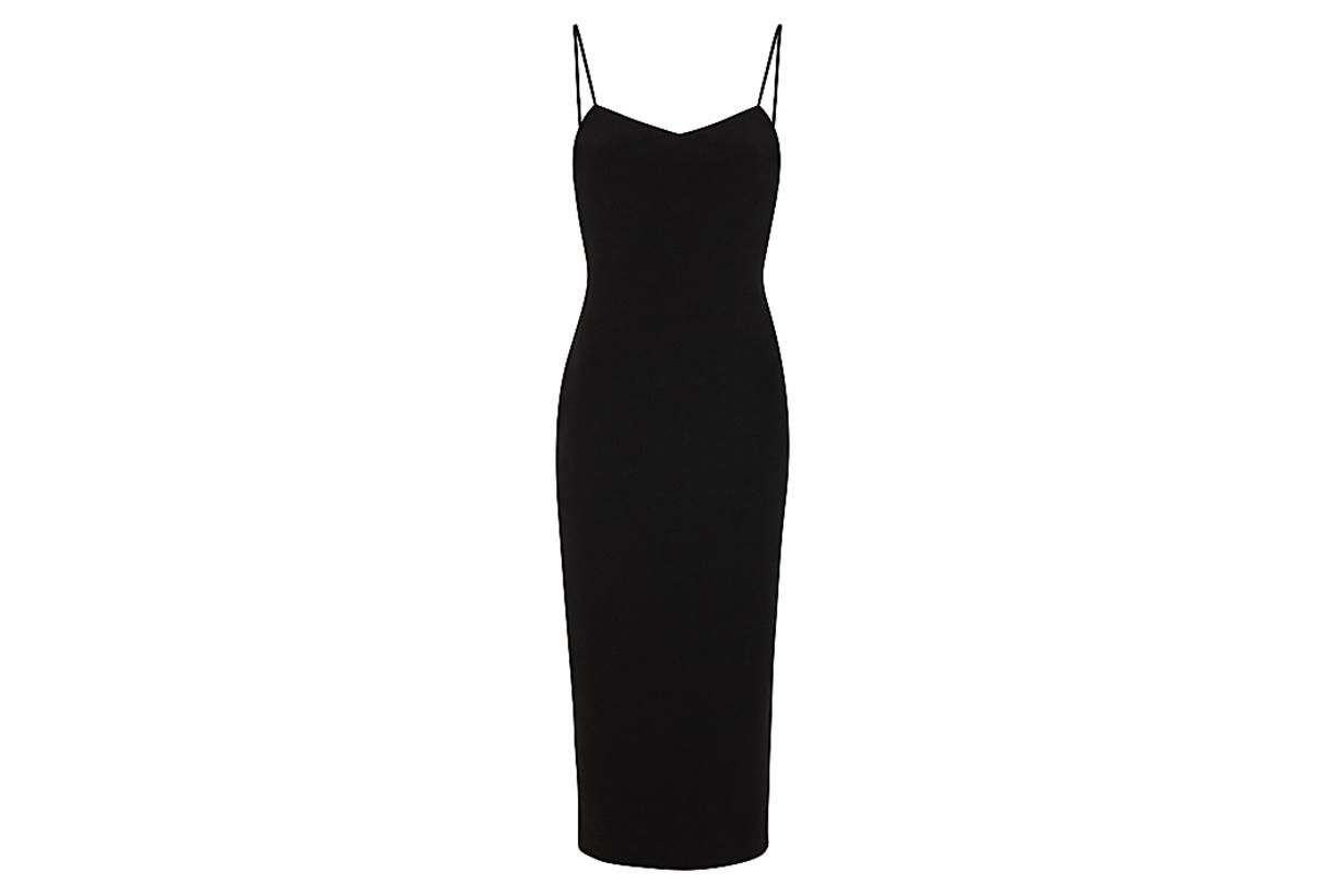Gemma black lace-up midi dress