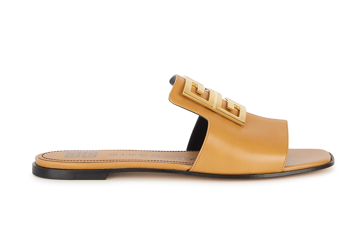 GIVENCHY 4G brown leather sliders