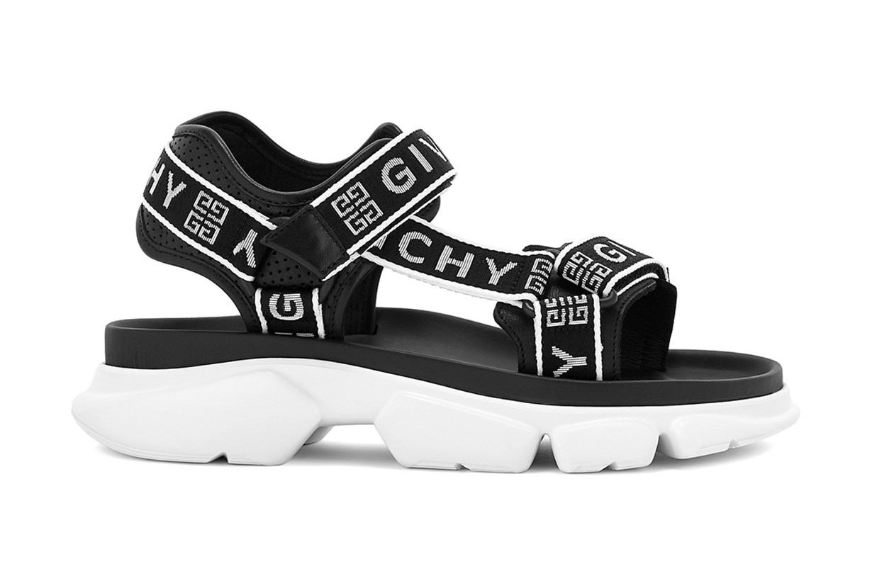 GIVENCHY Jaw monochrome logo canvas sandals