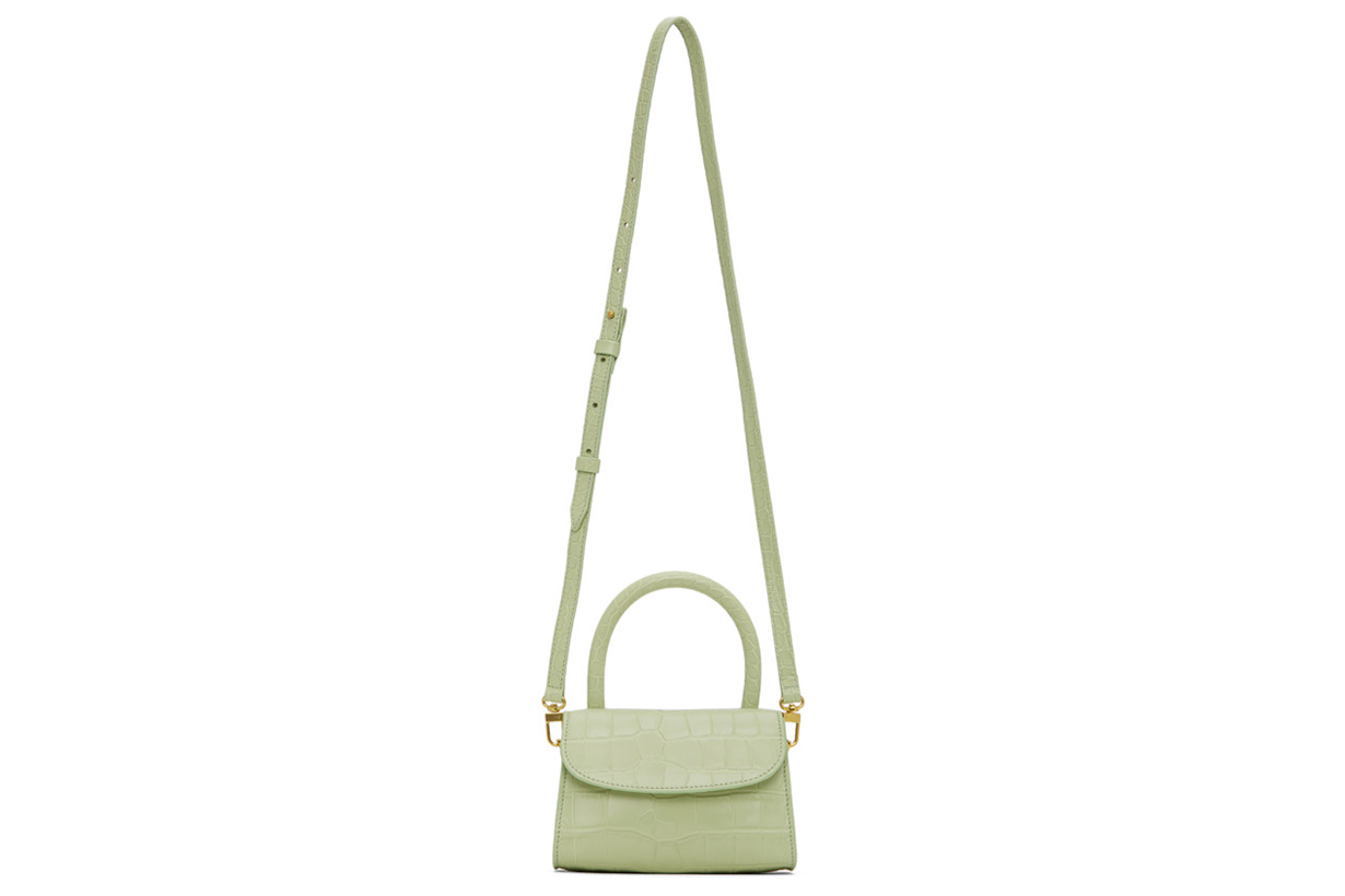 Green Croc Mini Top Handle Bag