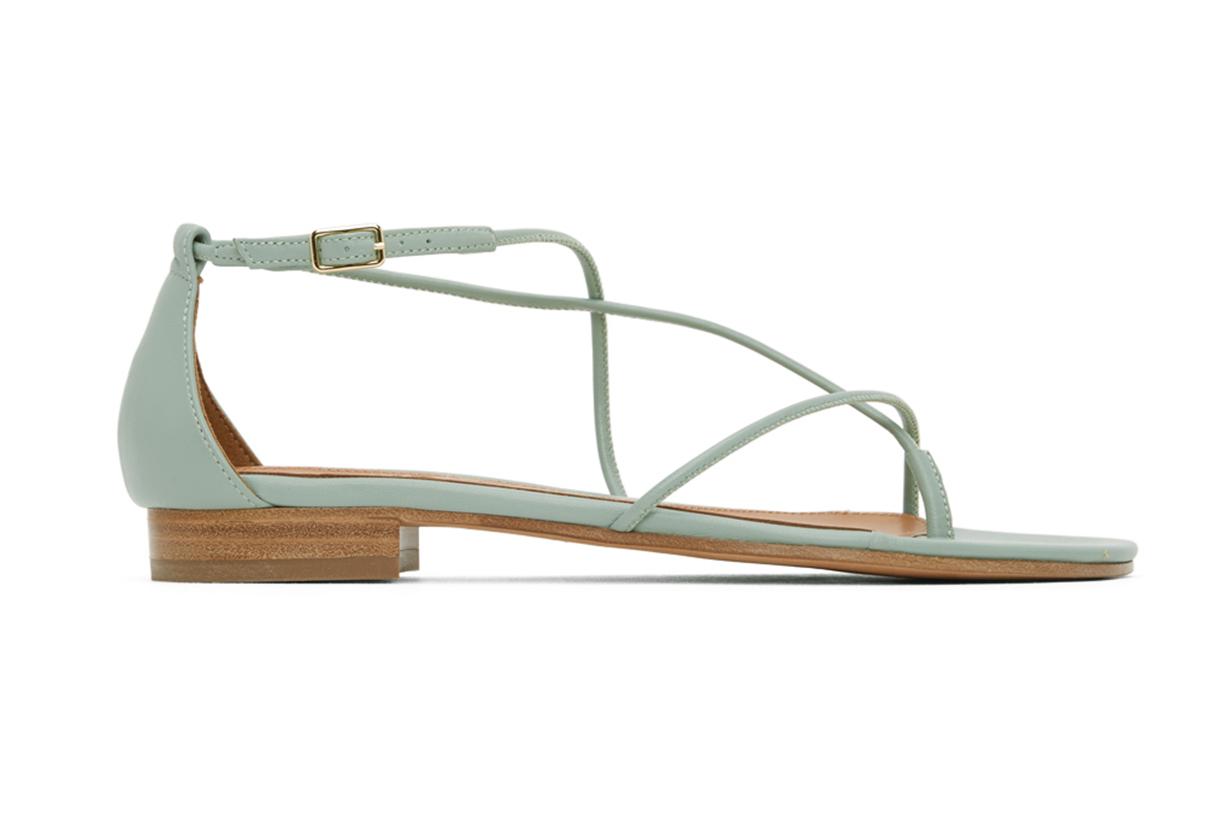 Green String Ankle Strap Sandals