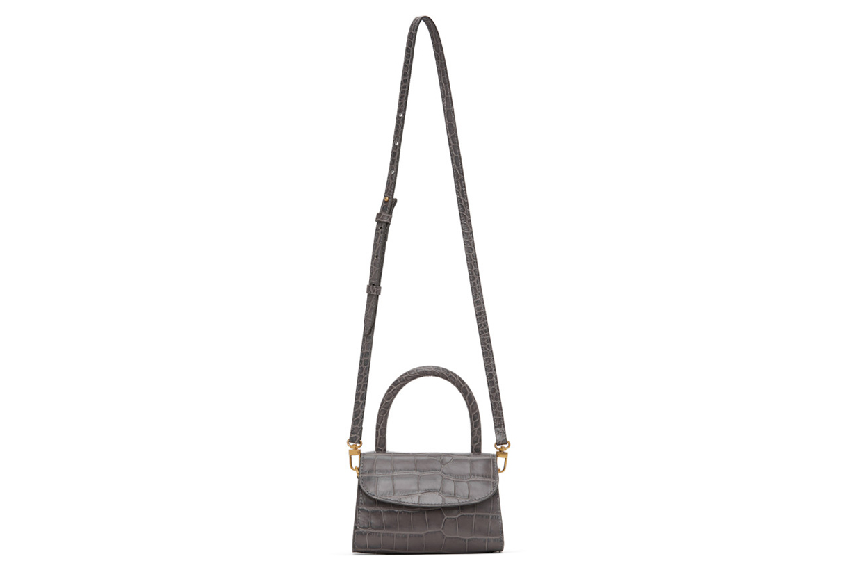 Grey Croc Mini Top Handle Bag