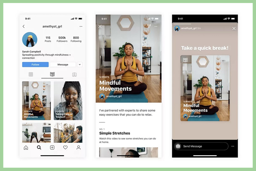instagram guides feature wellness mental health