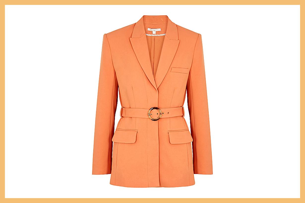JONATHAN SIMKHAI  Nadia orange belted blazer