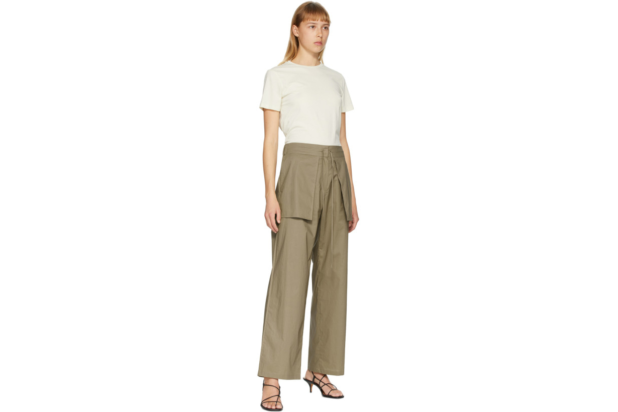 Khaki Reverse Wide-Leg Trousers
