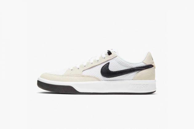 nike sb swoosh logo sneakers white leather orange