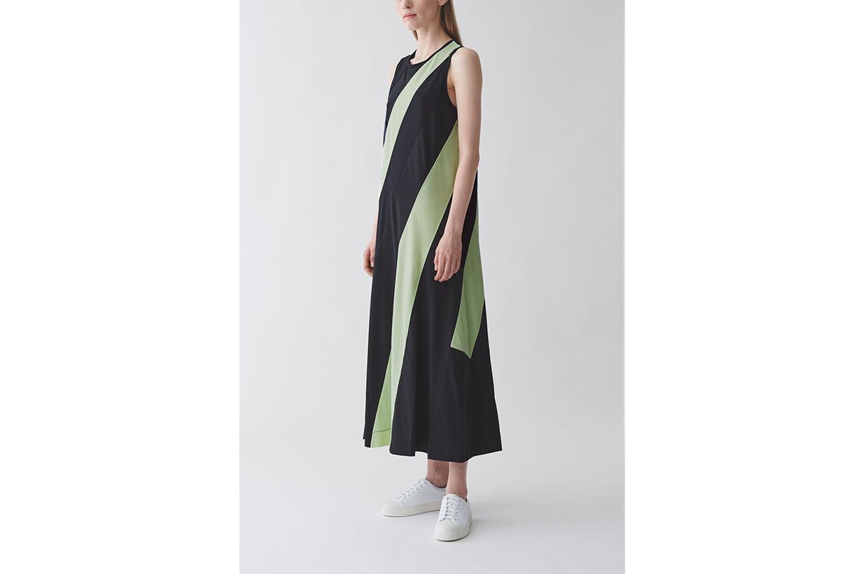 ORGANIC COTTON STRIPED PANEL DRESS