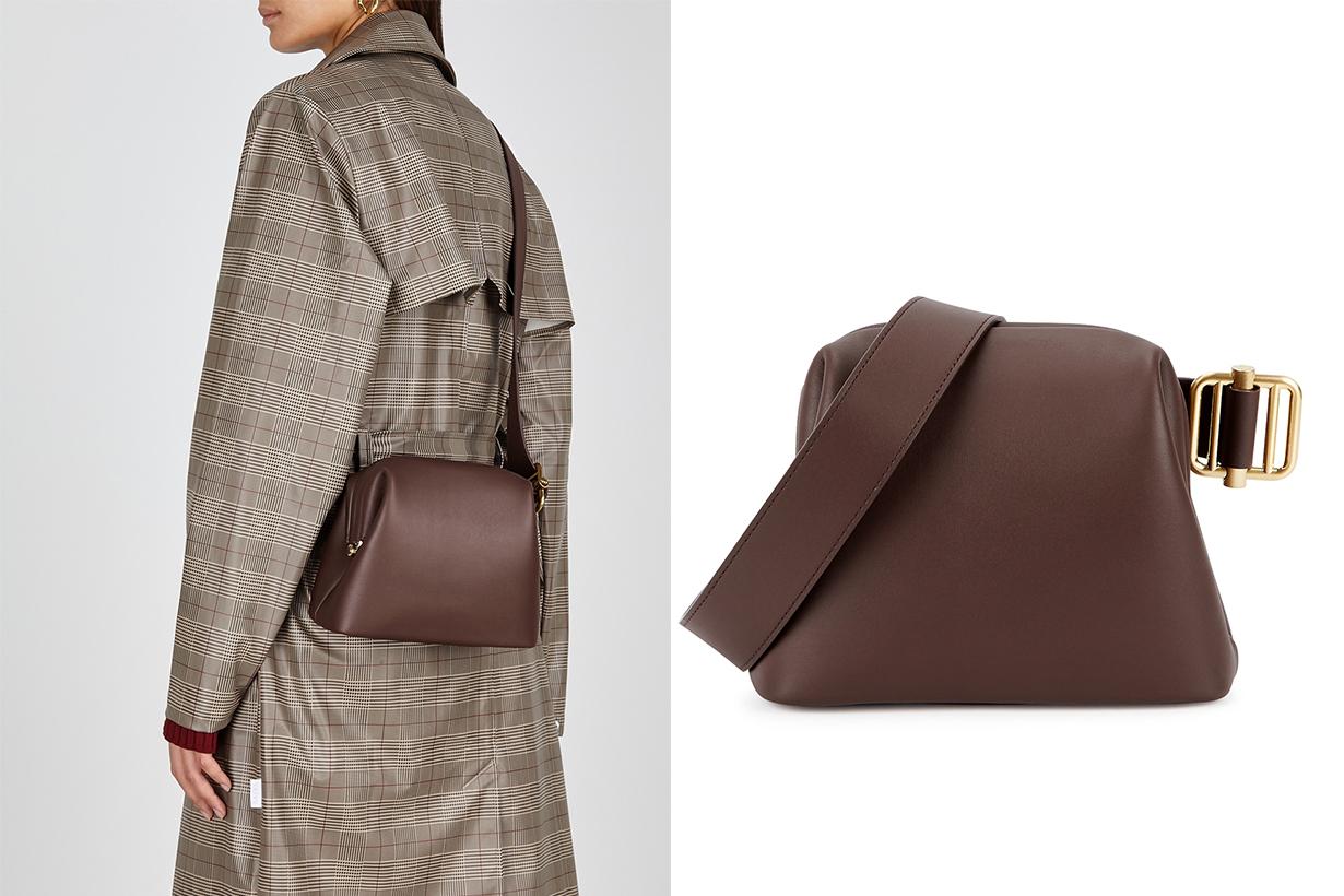 OSOI  Brot mini brown leather cross-body bag