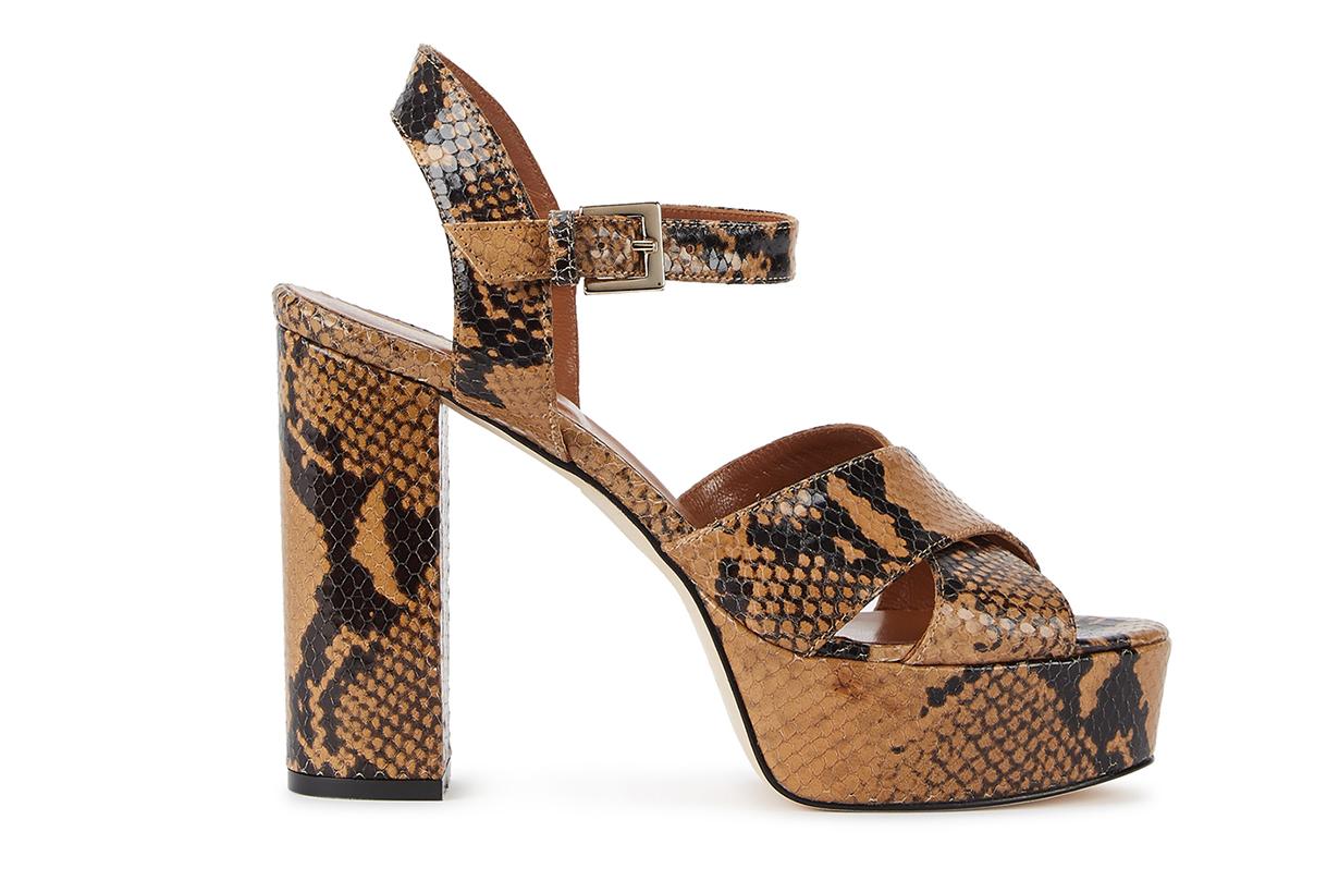 PARIS TEXAS 120mm snake-effect platform sandals