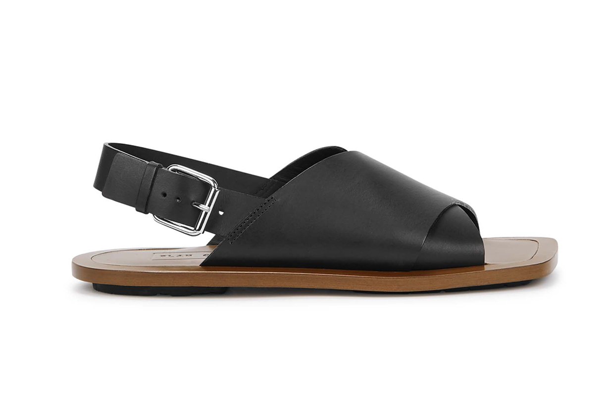 PLAN C Black leather sandals