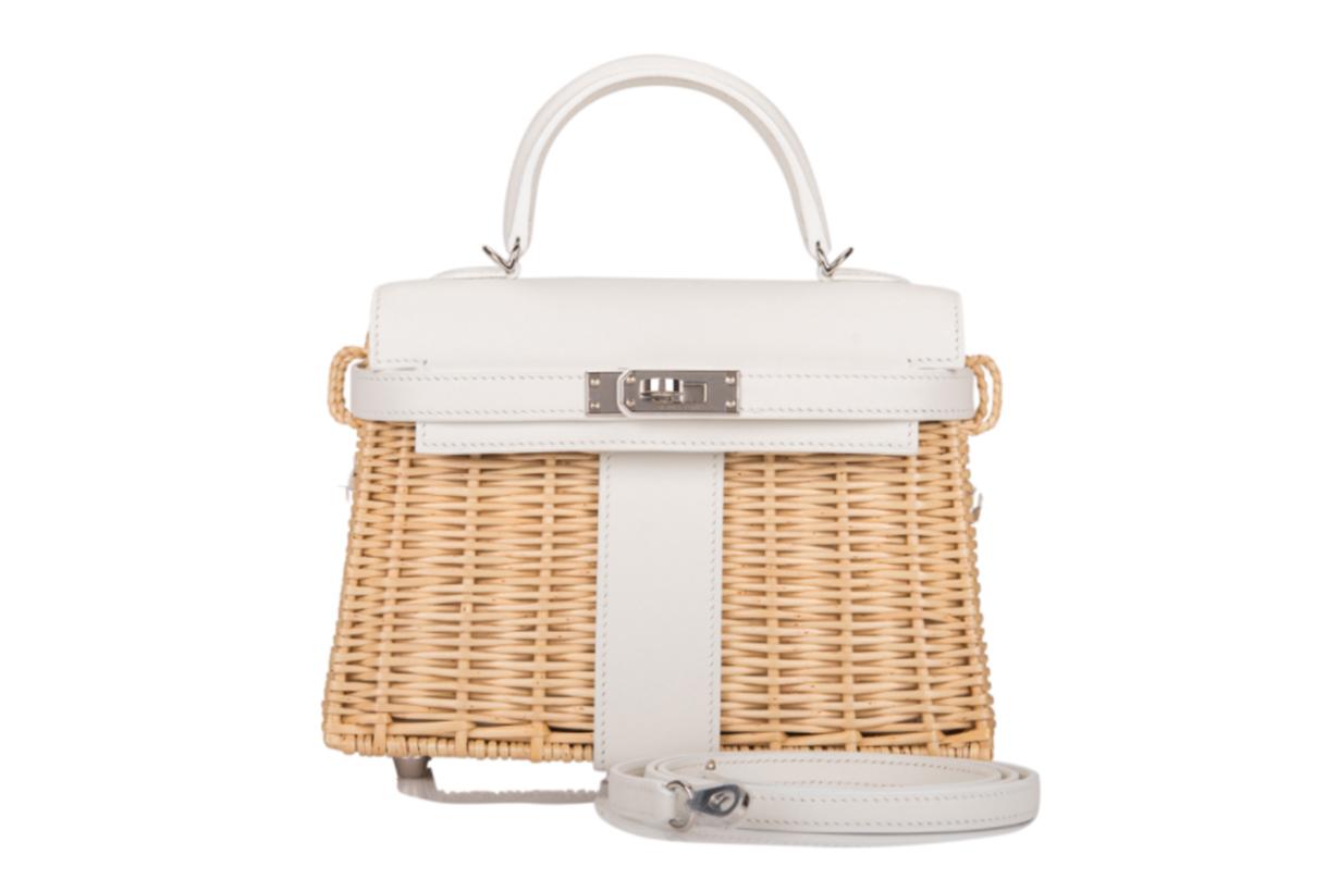 Hermès White Mini Kelly Picnic