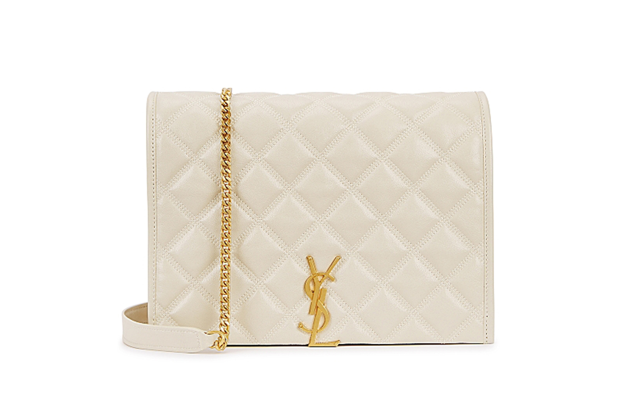 SAINT LAURENT Becky small off-white leather shoulder bag