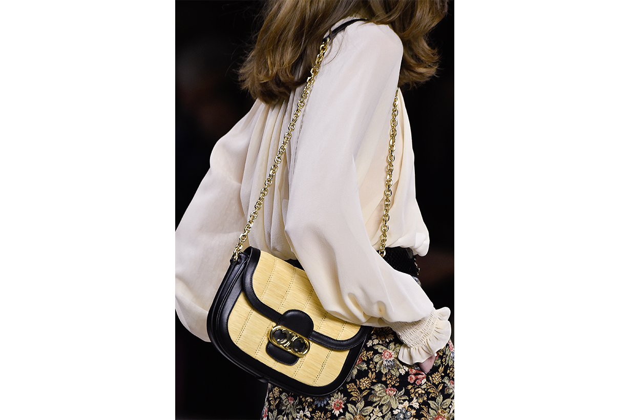 A model, bag detail, walks the runway during the Celine Womenswear Spring/Summer 2020 show as part of Paris Fashion Week on September 27, 2019 in Paris, France.