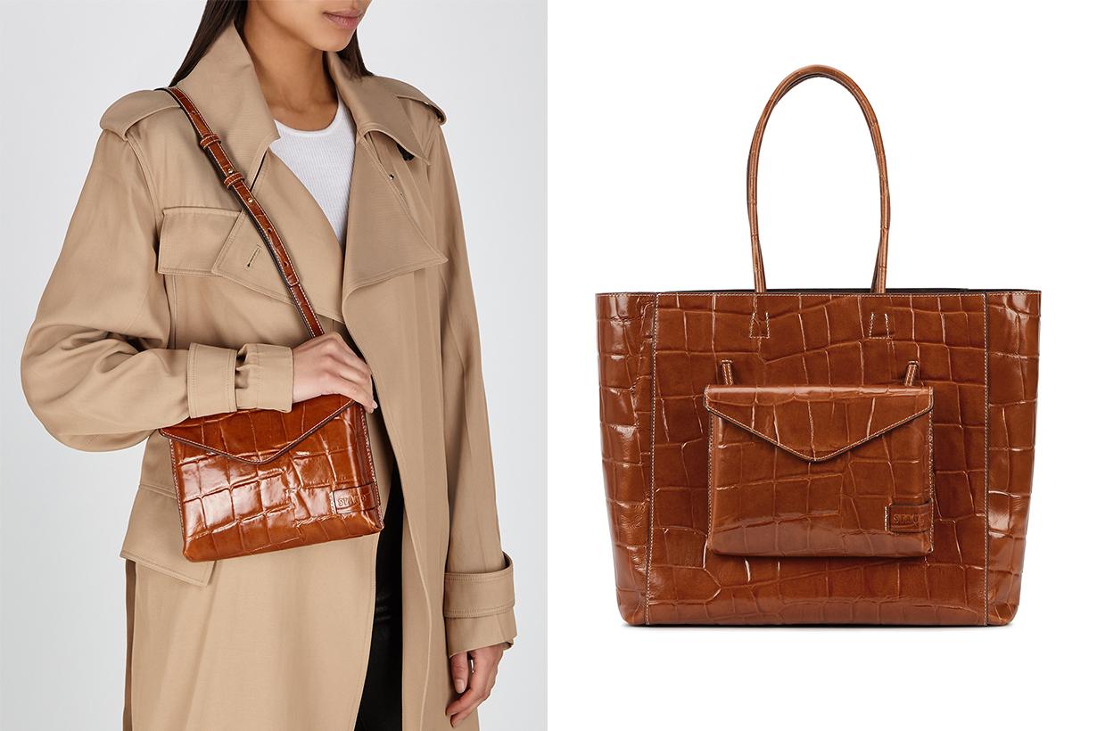 STAUD Linda brown crocodile-effect leather tote