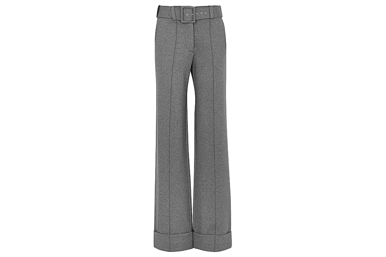VICTORIA, VICTORIA BECKHAM Grey belted wide-leg trousers