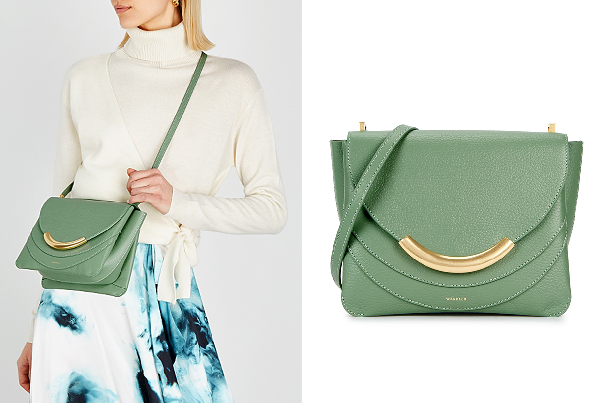 WANDLER  Luna green leather cross-body bag