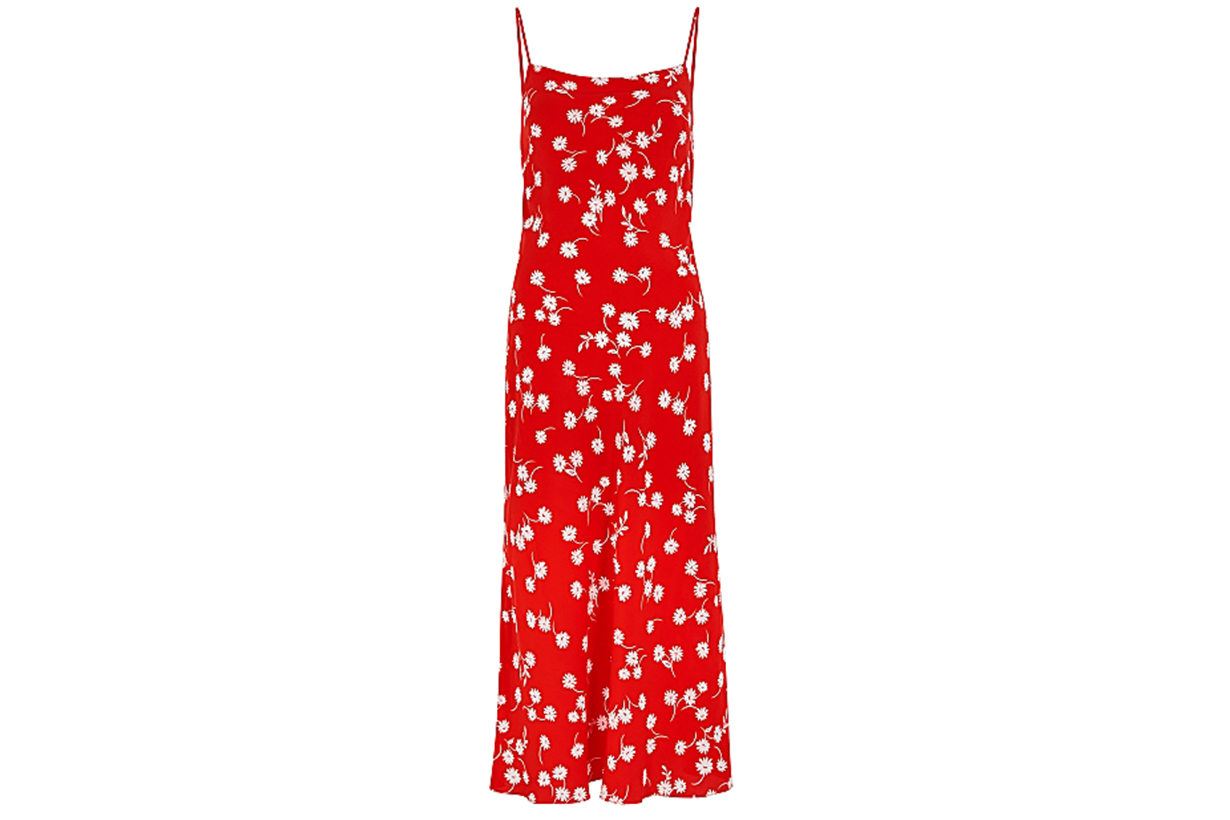 White Daisy red printed silk midi dress