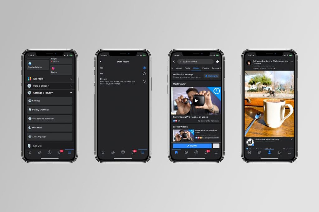 Facebook dark mode iOS Release